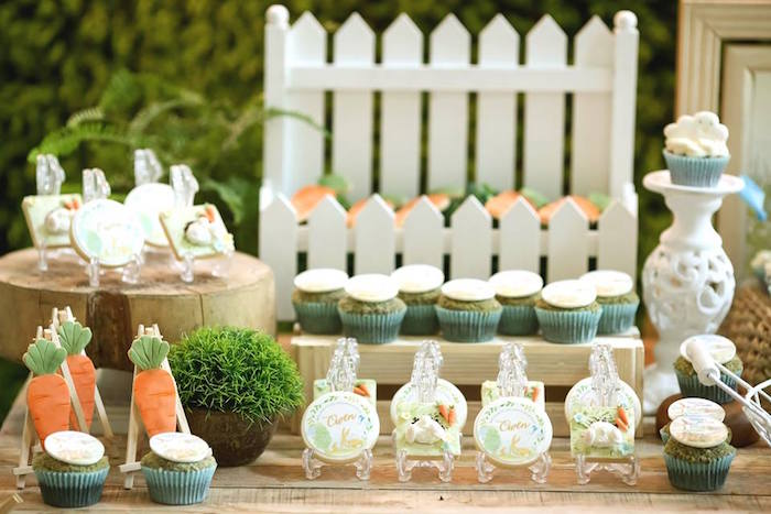 "Cookies and cupcakes from a ""Guess How Much I Love You?"" Baptism Party on Kara's Party Ideas 