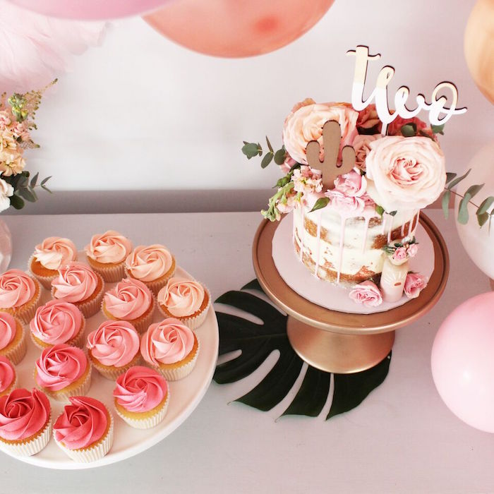 """Cake and cupcakes from a """"Let's Fiesta"""" 2nd Birthday Party on Kara's Party Ideas 