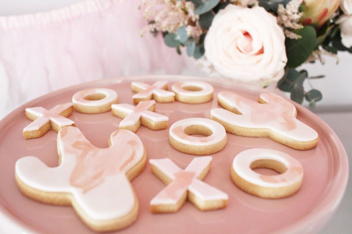"""Pink marble cactus + XO cookies from a """"Let's Fiesta"""" 2nd Birthday Party on Kara's Party Ideas 