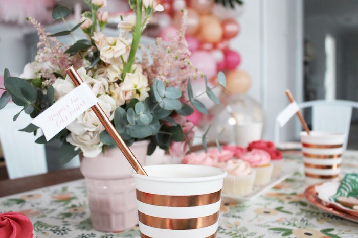 """Gold + white striped cups + straws from a """"Let's Fiesta"""" 2nd Birthday Party on Kara's Party Ideas 