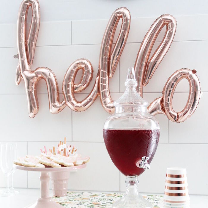 """""""Hello"""" beverage bar from a """"Let's Fiesta"""" 2nd Birthday Party on Kara's Party Ideas 