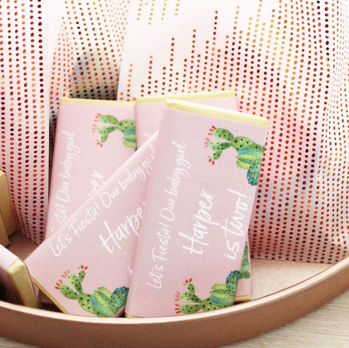"""Cactus candy bar wrappers from a """"Let's Fiesta"""" 2nd Birthday Party on Kara's Party Ideas 