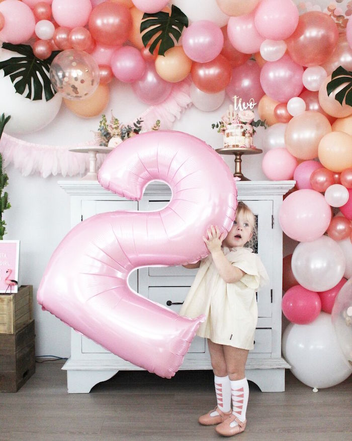 """Giant pink mylar number balloon from a """"Let's Fiesta"""" 2nd Birthday Party on Kara's Party Ideas 