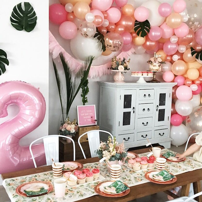 """Girly party spread from a """"Let's Fiesta"""" 2nd Birthday Party on Kara's Party Ideas 