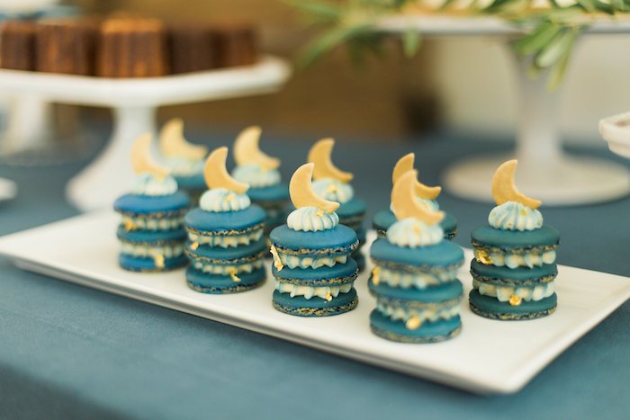 """Stacked moon macarons from a """"Love You to the Moon"""" Rustic Baby Shower on Kara's Party Ideas 