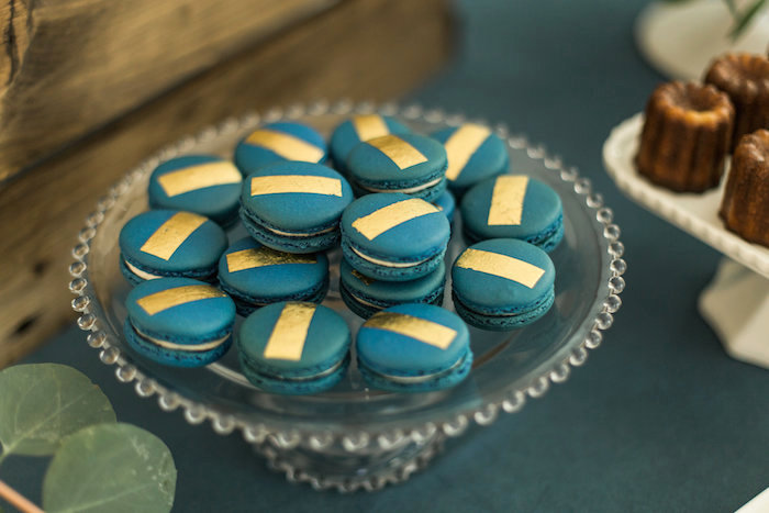 """Moon-colored macarons with gold stripes from a """"Love You to the Moon"""" Rustic Baby Shower on Kara's Party Ideas 