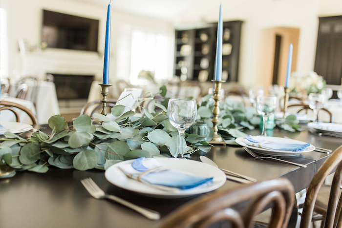 """Guest tablescape + place settings from a """"Love You to the Moon"""" Rustic Baby Shower on Kara's Party Ideas 