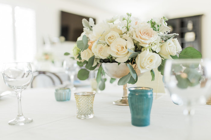 """Guest table decor from a """"Love You to the Moon"""" Rustic Baby Shower on Kara's Party Ideas 