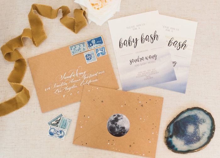 """Party invite from a """"Love You to the Moon"""" Rustic Baby Shower on Kara's Party Ideas 