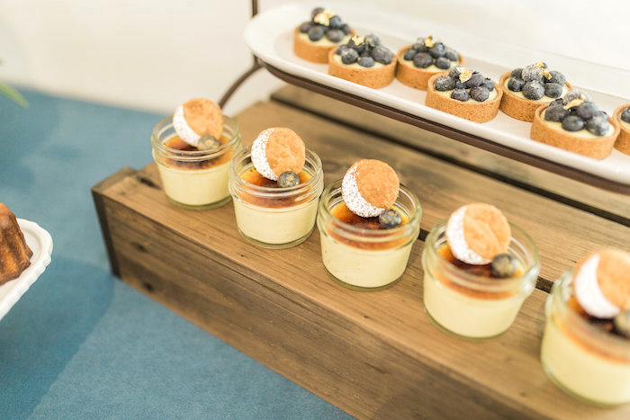 """Dessert cups and tarts from a """"Love You to the Moon"""" Rustic Baby Shower on Kara's Party Ideas 