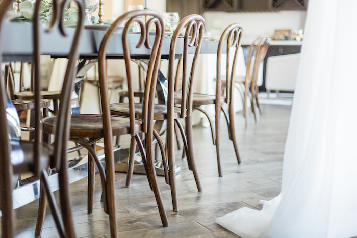 """Oak bentwood chairs from a """"Love You to the Moon"""" Rustic Baby Shower on Kara's Party Ideas 