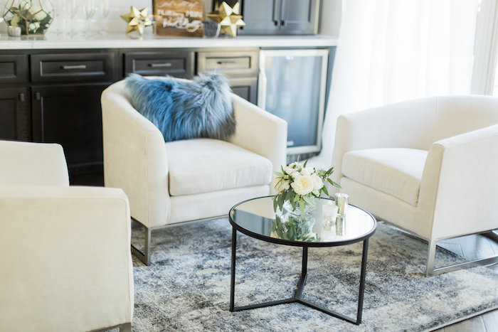 """Lounge area from a """"Love You to the Moon"""" Rustic Baby Shower on Kara's Party Ideas 