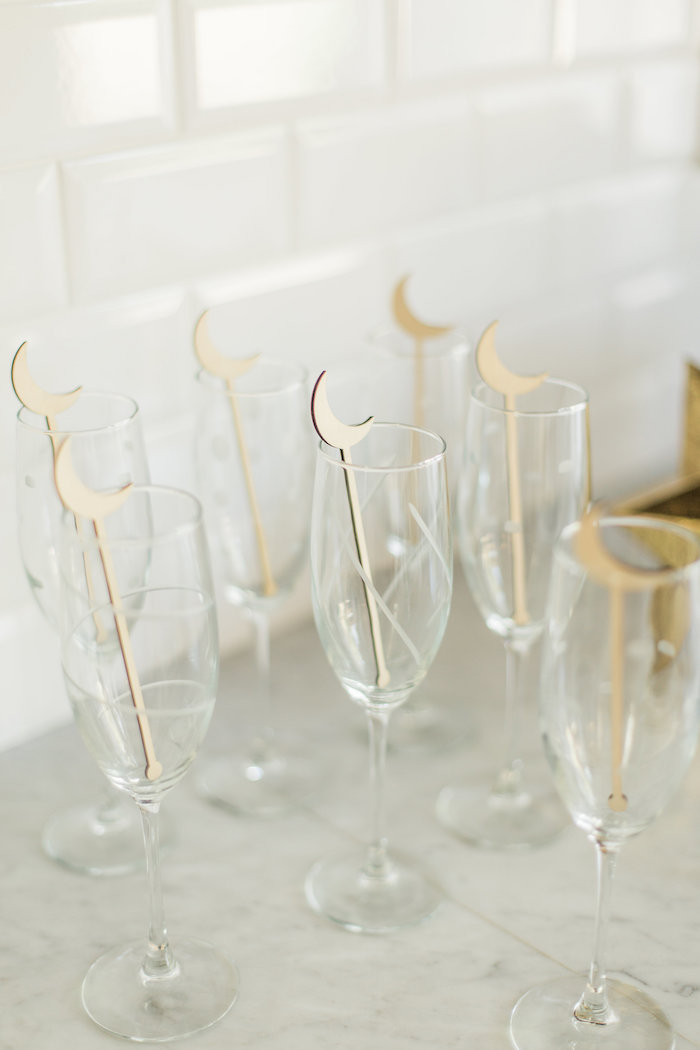 """Drink glasses with wooden moon stirrers from a """"Love You to the Moon"""" Rustic Baby Shower on Kara's Party Ideas 