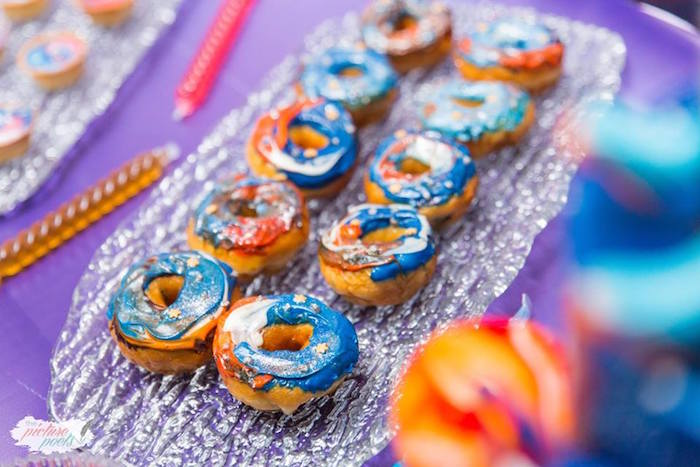 "Galactic doughnuts from a ""Miles from Tomorrowland"" Inspired Outer Space Birthday Party on Kara's Party Ideas 