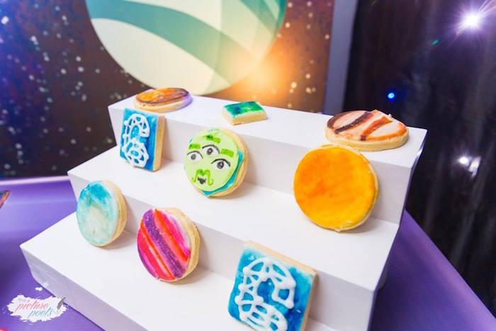 "Tomorrowland Cookies from a ""Miles from Tomorrowland"" Inspired Outer Space Birthday Party on Kara's Party Ideas 