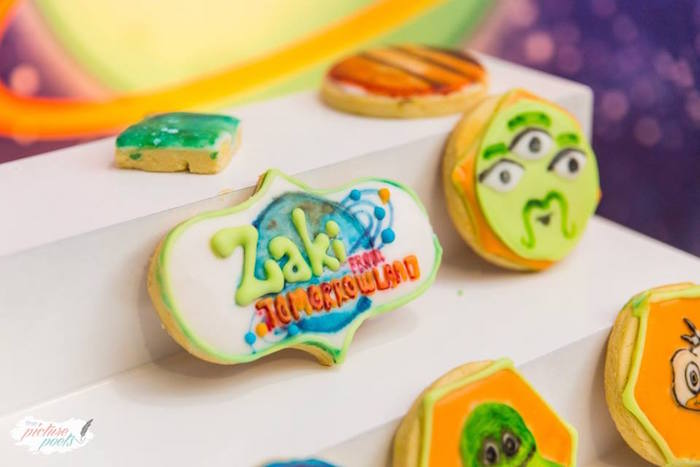 "Cookies from a ""Miles from Tomorrowland"" Inspired Outer Space Birthday Party on Kara's Party Ideas 