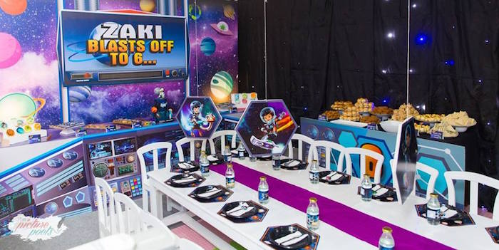 "Guest table + full party spread from a ""Miles from Tomorrowland"" Inspired Outer Space Birthday Party on Kara's Party Ideas 