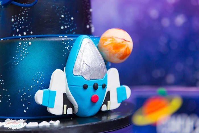 "Spaceship cake detail from a ""Miles from Tomorrowland"" Inspired Outer Space Birthday Party on Kara's Party Ideas 