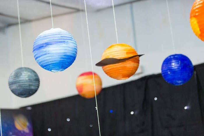 "Paper lantern planets from a ""Miles from Tomorrowland"" Inspired Outer Space Birthday Party on Kara's Party Ideas 