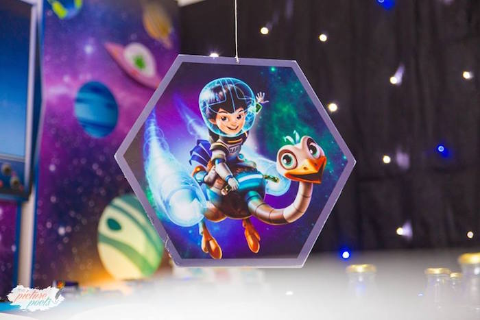 "Hanging decor from a ""Miles from Tomorrowland"" Inspired Outer Space Birthday Party on Kara's Party Ideas 