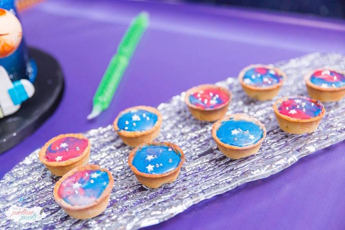 "Space tarts from a ""Miles from Tomorrowland"" Inspired Outer Space Birthday Party on Kara's Party Ideas 