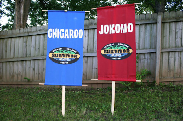 "Survivor Tribe Flags from a ""Survivor"" Themed Summer Party on Kara's Party Ideas 