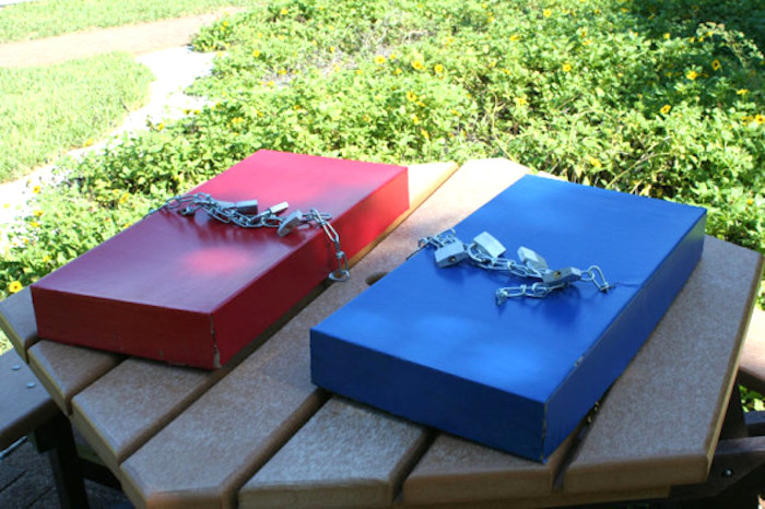 "Lock boxes from a ""Survivor"" Themed Summer Party on Kara's Party Ideas 