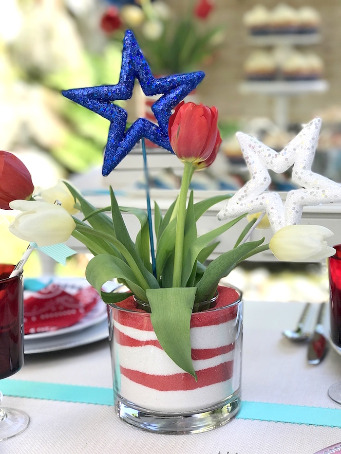 "Tulip and star centerpiece from a ""Sweet Liberty"" July 4th Celebration on Kara's Party Ideas 