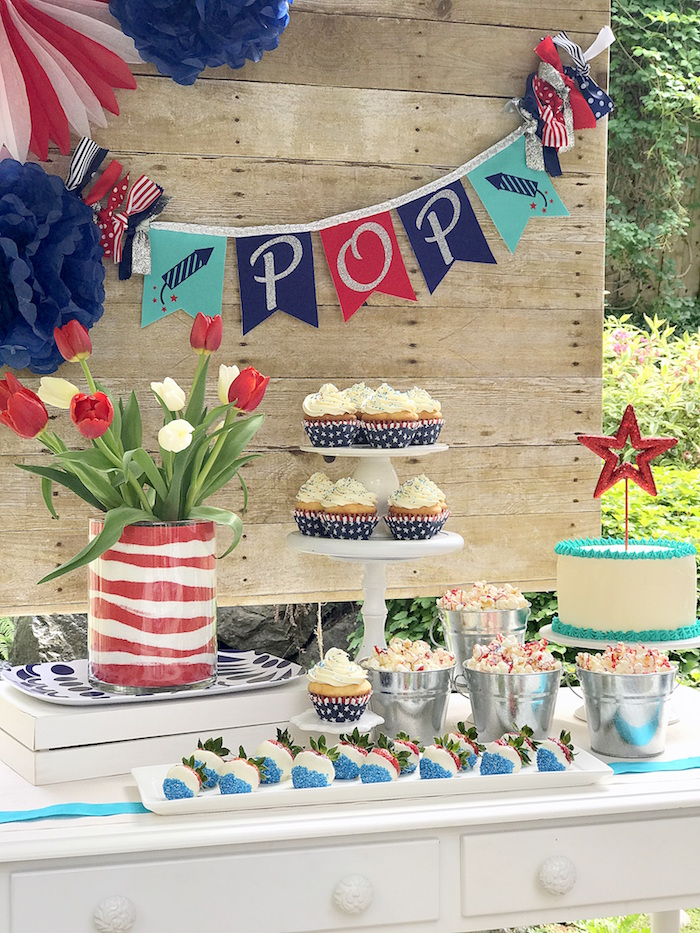 "Sweet table from a ""Sweet Liberty"" July 4th Celebration on Kara's Party Ideas 
