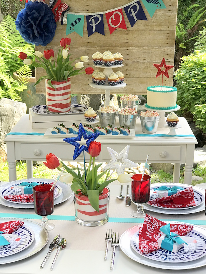 "Party tables from a ""Sweet Liberty"" July 4th Celebration on Kara's Party Ideas 