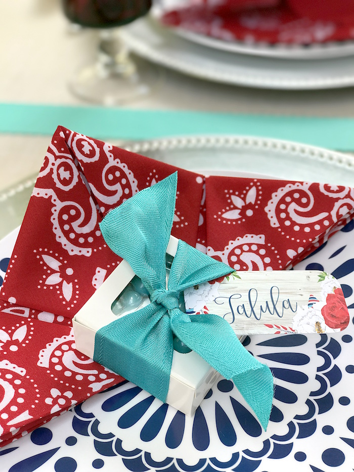 "Personalized labeled favor box + place setting from a ""Sweet Liberty"" July 4th Celebration on Kara's Party Ideas 