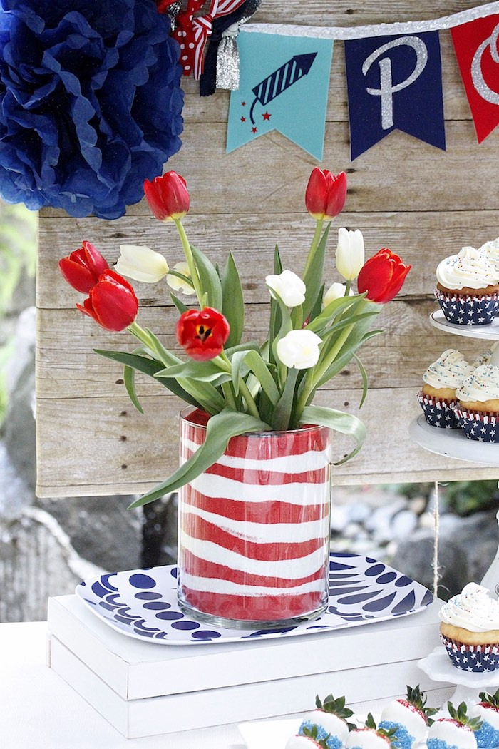 "Tulip centerpiece from a ""Sweet Liberty"" July 4th Celebration on Kara's Party Ideas 