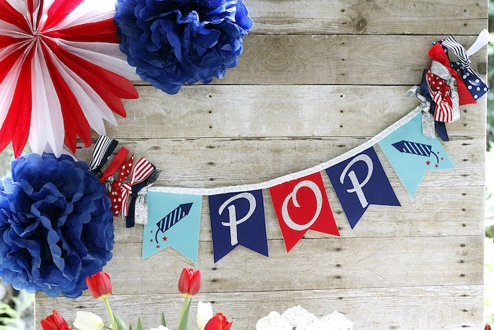 """Pop"" banner & backdrop from a ""Sweet Liberty"" July 4th Celebration on Kara's Party Ideas 