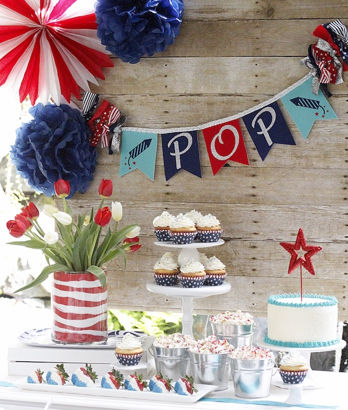 "Dessert table from a ""Sweet Liberty"" July 4th Celebration on Kara's Party Ideas 