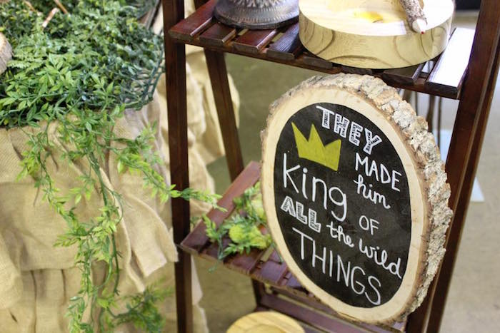 "Rustic chalkboard sign from a ""Where the Wild Things Are"" Inspired Baby Shower via Kara's Party Ideas 