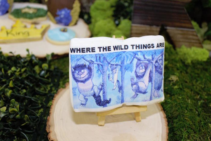 "Where the Wild Things Are book cover cookie from a ""Where the Wild Things Are"" Inspired Baby Shower via Kara's Party Ideas 