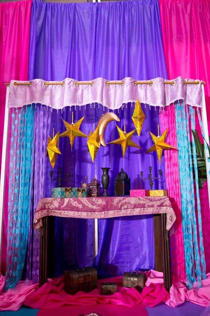 Starry night backdrop from an Arabian Nights Birthday Party on Kara's Party Ideas   KarasPartyIdeas.com (8)
