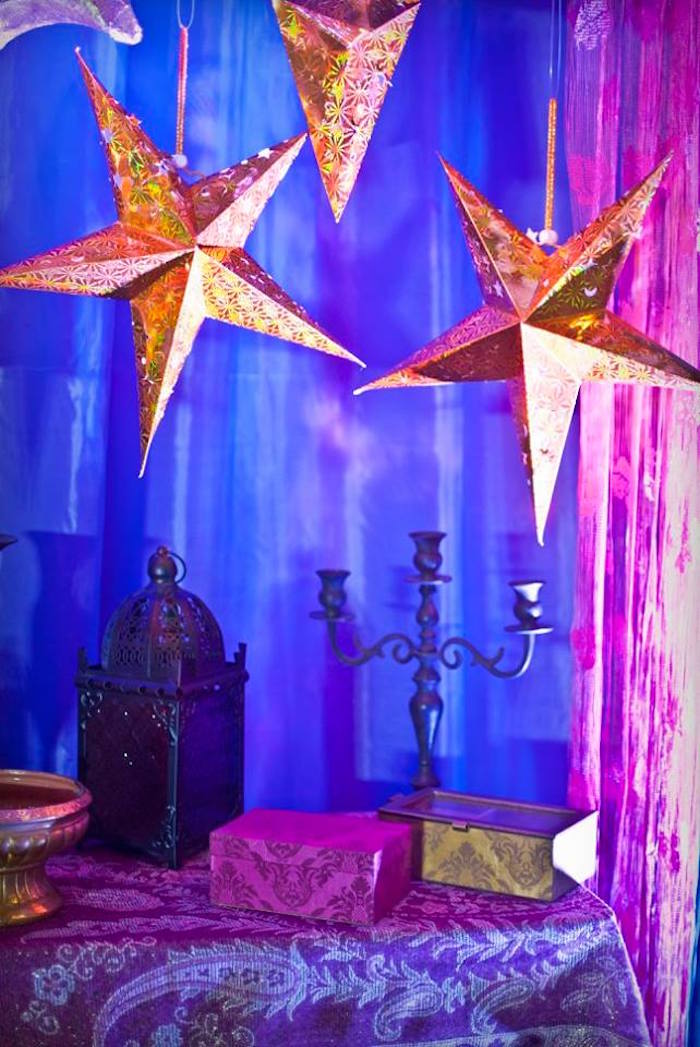 Starry night table from an Arabian Nights Birthday Party on Kara's Party Ideas | KarasPartyIdeas.com (25)