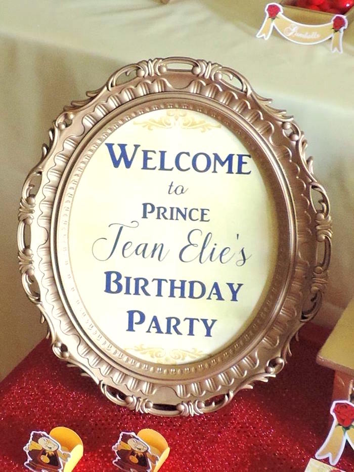 Welcome sign from a Beauty and the Beast 1st Birthday Party on Kara's Party Ideas | KarasPartyIdeas.com (27)