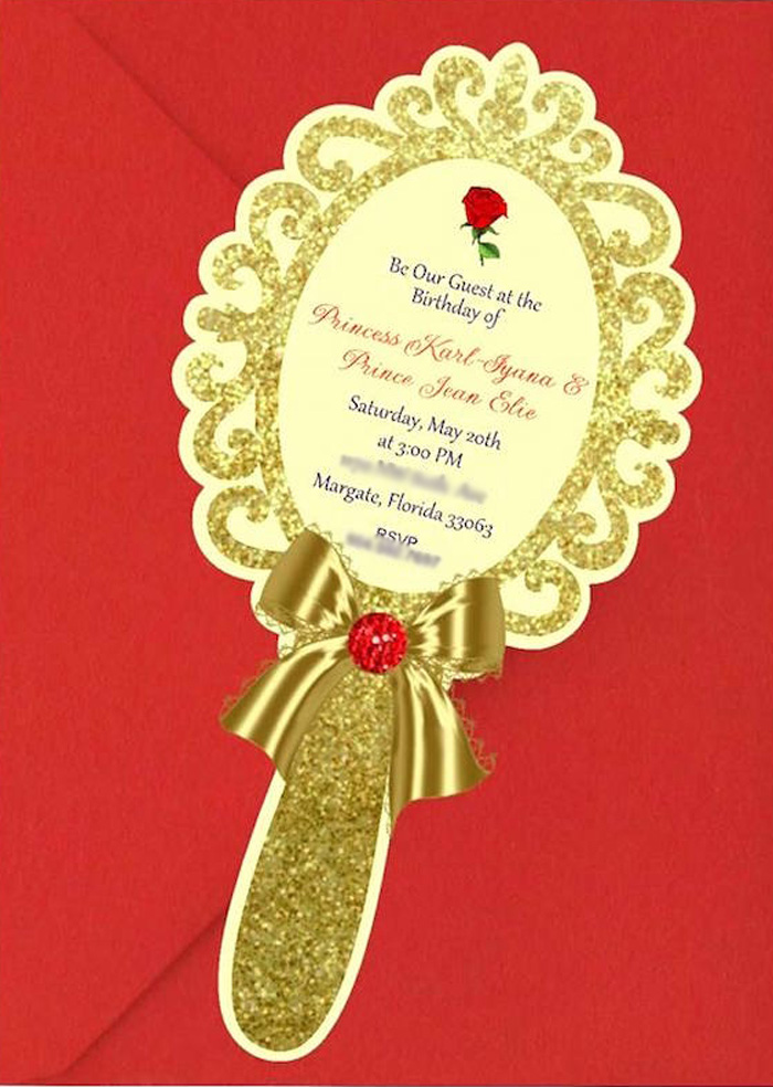 Enchanted Mirror Party Invite from a Beauty and the Beast 1st Birthday Party on Kara's Party Ideas | KarasPartyIdeas.com (26)