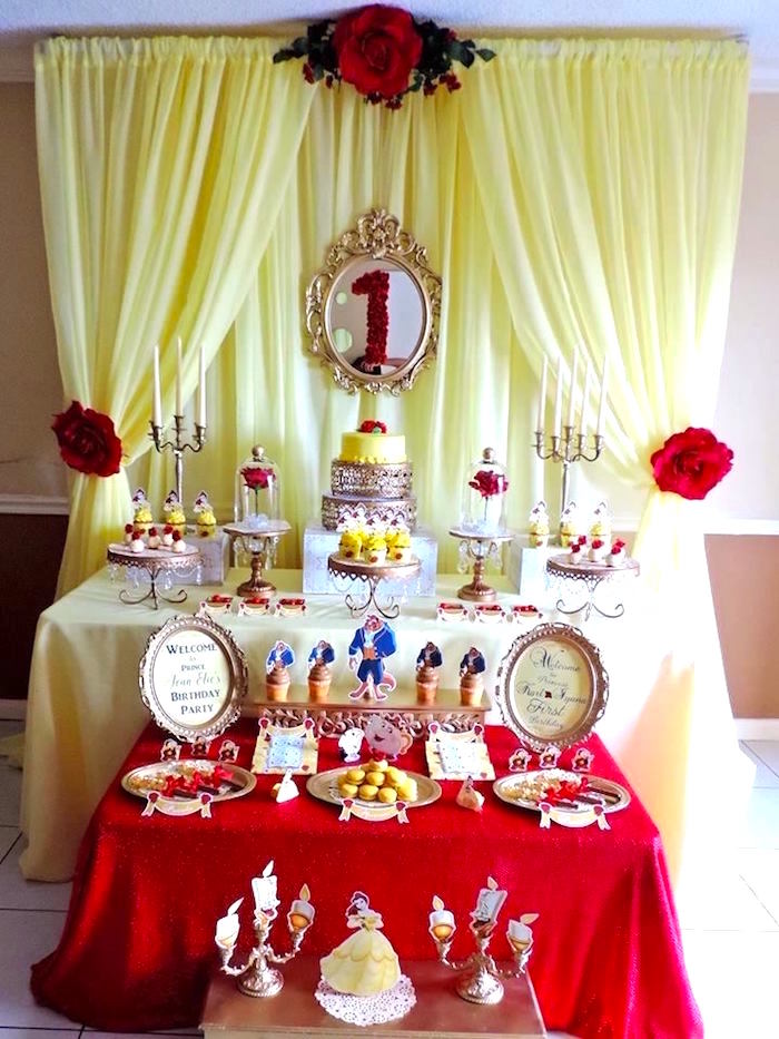 Kara S Party Ideas Charming Beauty And The Beast 1st