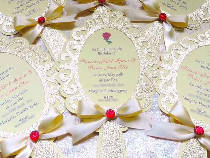 enchanted mirror party invite from a beauty and the beast 1st birthday party on karas party - Beauty And The Beast Wedding Invitations