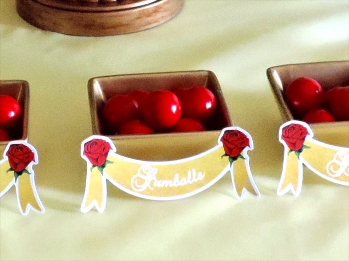 Gumballs from a Beauty and the Beast 1st Birthday Party on Kara's Party Ideas | KarasPartyIdeas.com (20)