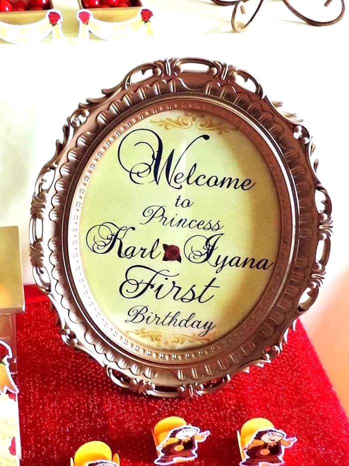 Welcome sign from a Beauty and the Beast 1st Birthday Party on Kara's Party Ideas | KarasPartyIdeas.com (18)
