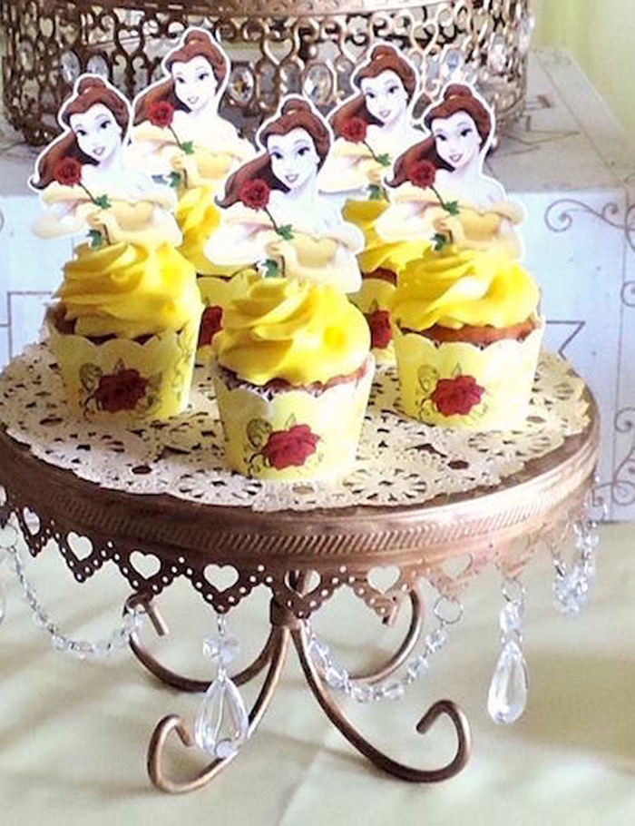 Belle cupcakes from a Beauty and the Beast 1st Birthday Party on Kara's Party Ideas | KarasPartyIdeas.com (16)