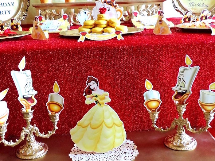 Belle standee and Lumiere candlesticks from a Beauty and the Beast 1st Birthday Party on Kara's Party Ideas | KarasPartyIdeas.com (14)