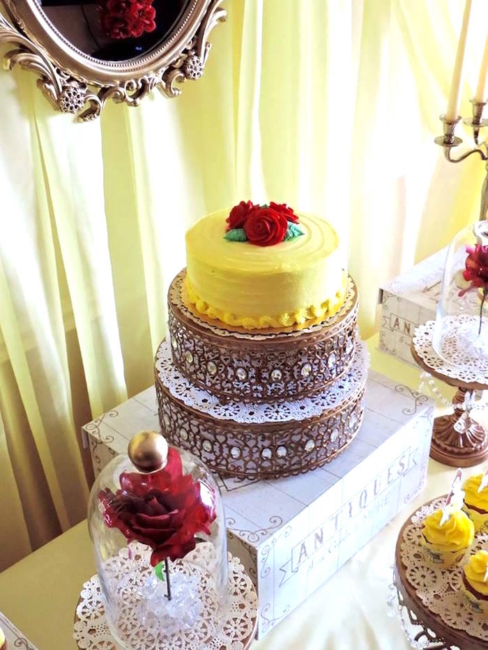 Belle-inspired enchanted rose cake from a Beauty and the Beast 1st Birthday Party on Kara's Party Ideas | KarasPartyIdeas.com (13)