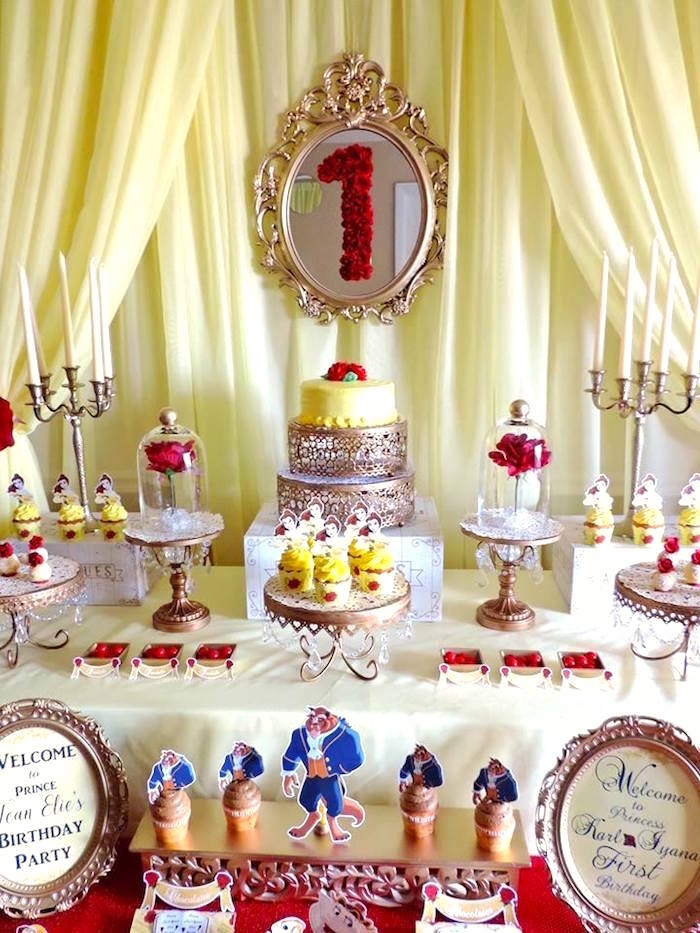 Belle cake table from a Beauty and the Beast 1st Birthday Party on Kara's Party Ideas | KarasPartyIdeas.com (12)