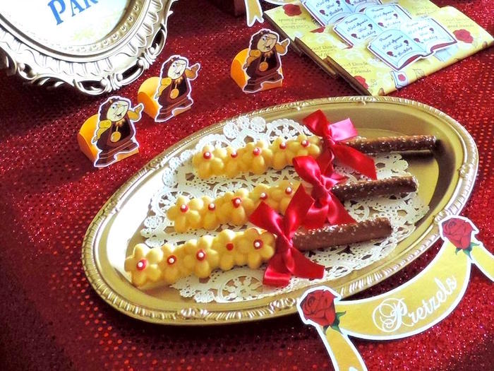 Flower pretzels from a Beauty and the Beast 1st Birthday Party on Kara's Party Ideas | KarasPartyIdeas.com (10)