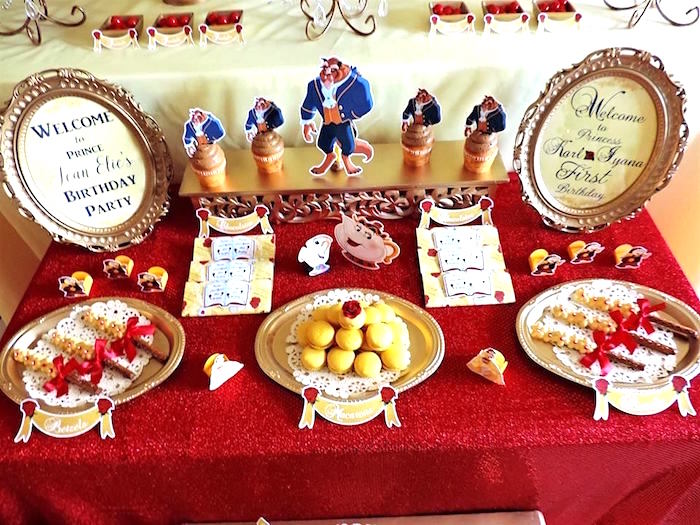 Sweet tabletop from a Beauty and the Beast 1st Birthday Party on Kara's Party Ideas | KarasPartyIdeas.com (9)